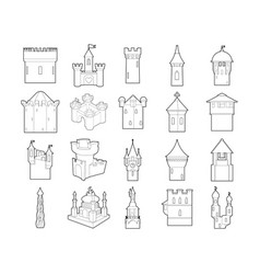 castle icon set outline style vector image