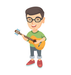 Caucasian boy singing and playing acoustic guitar vector