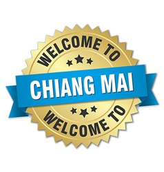 Chiang mai 3d gold badge with blue ribbon vector image