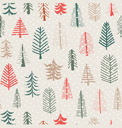 christmas tree seamless pattern repeat tile vector image