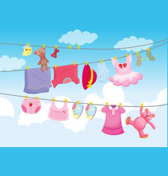 clothes hanging with sky background vector image
