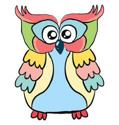 colorful owl on white background vector image