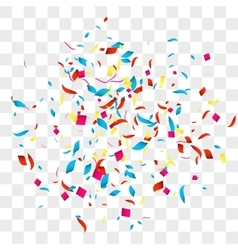 Confetti background over transparent grid vector image
