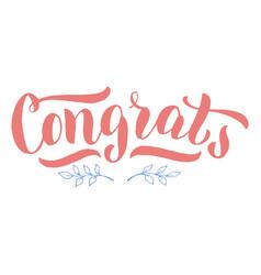 Congrats lettering text postcard nice vector