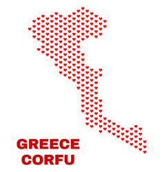 corfu island map - mosaic of lovely hearts vector image