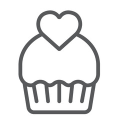 cupcake line icon cake and sweet muffin sign vector image