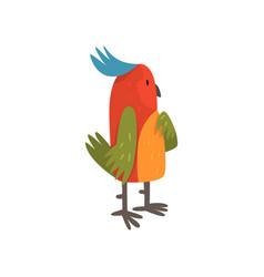 Cute funny bird cartoon character with bright vector