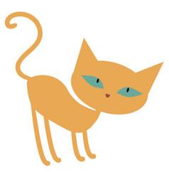 Cute ginger orange cartoon cat with green eyes vector