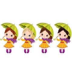 Cute little girls with umbrellas vector