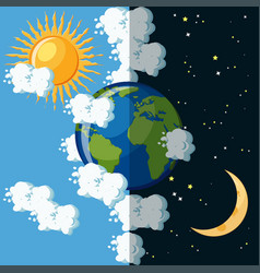 Day and night on the planet earth concept vector