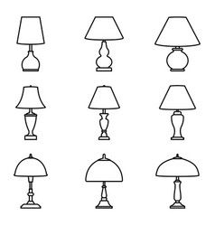 different types table lamps thin line icons vector image