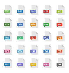 document format sign set file flat icons vector image