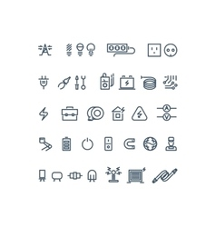 Electricity outline icons vector