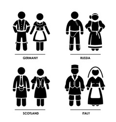 europe - germany russia scotland italy man woman vector image