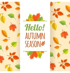 Fall leaves pattern and text vector image