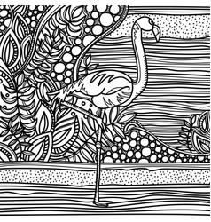 Flamingo in fantasy garden page for color book vector