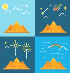 Flat design 4 styles of pyramids of giza egypt vector