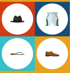 flat icon dress set of beach sandal panama male vector image
