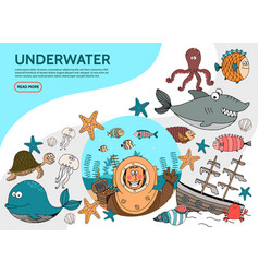 flat underwater life elements set vector image