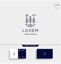 Forest logo line design landscape symbol vector