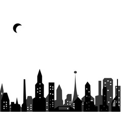 glowing windows a big city under moon vector image