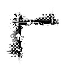 Grunge black tire square corner vector