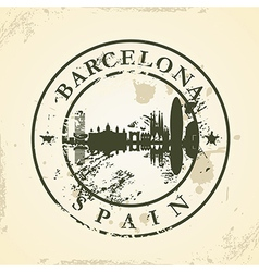 Grunge rubber stamp with Barcelona Spain vector image