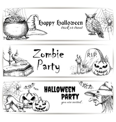 Halloween pencil sketch decoration elements vector
