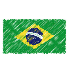 Hand drawn national flag of brasil isolated on a vector
