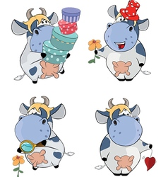 Happy cows Clip-Art Cartoon vector image