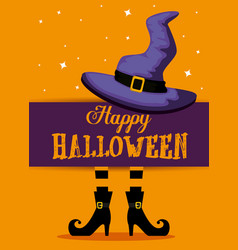 Happy halloween card with witch feets and hat vector