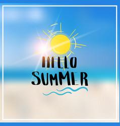 hello summer blurred sea bokeh beach background vector image