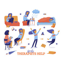 Help in depression set - young woman and therapist vector