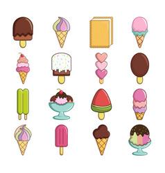 ice cream icons set sweet cartoon style vector image