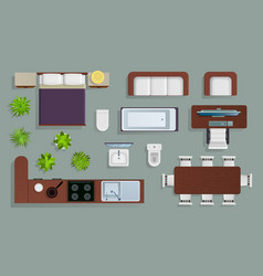 interior top view office furniture design vector image