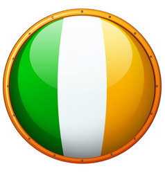 Ireland flag on round button vector