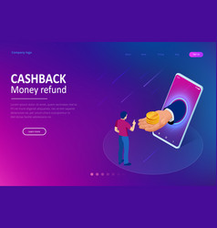 isometric cashback and saving money concept money vector image