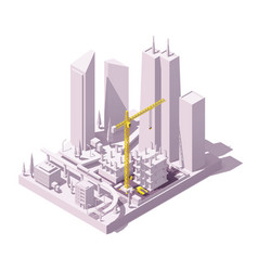 isometric construction site vector image
