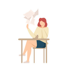 Lazy girl sitting at school desk not wanting to vector