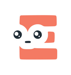 Letter e cute kawaii character funny smiley clip vector