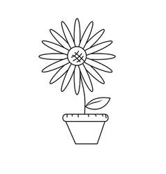 Line beautiful sunflower in the flowerpot vector