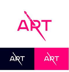 Logo brush lettering illusion art school gallery vector