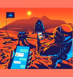 Mars social conceptual vector
