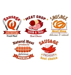 Meat butcher shop signs vector
