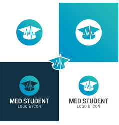 Medical student hat healthcare logo and icon vector
