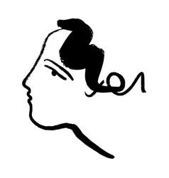 minimalist line face brush ink style good vector image