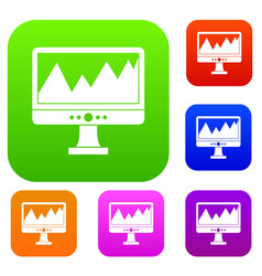monitor and a chart set collection vector image
