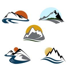 mountains emblem set vector image vector image