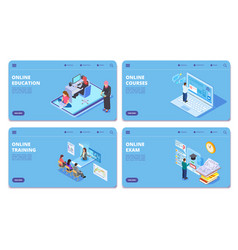 online education isometric concept pages vector image