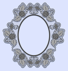 Oval lace frame on blue background black openwork vector